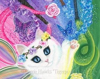 White Fairy Cat Art Springtime Magic Rainbow Tarot 4 of Wands Fantasy Cat Art ACEO / ATC Mini Print Cat Lovers Gift