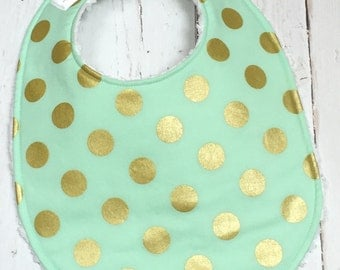 Baby Bib for Girl  - Single Bib - Triple Layer Chenille  - Mint, Metallic Gold - GOLD GLITZ MINT