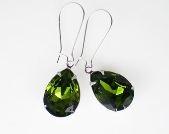 Olive Green Rhinestone Earrings Swarovski Olivine Wedding Jewelry Bridesmaid Earrings
