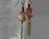 Tassel Earrings Featuring Vintage Japanese Tensha Flower Beads in Pink and Gold Delicate Antiqued Brass Chain and Niobium Hooks
