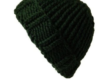 100% Merino Wool Forest Green Chunky Knit Hat Rib Knit Slouch Toque Ski Hat Men Women Unisex AIDAN Ready to Ship Autumn Winter Gift for Him