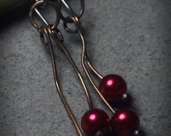 Copper Dangle Earrings Red Pearls