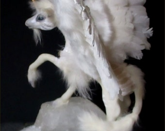 OOAK Winged Winter Unicorn Sculpture Art Doll