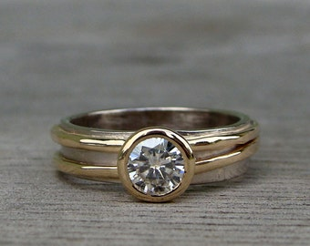 Conflict Free Moissanite Engagement Ring - Forever One G-H-I, Recycled 14k Yellow Gold, and Recycled 18k Palladium White Gold, Made to Order