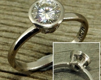 Moissanite Engagement Ring - Forever One G-H-I - Recycled 950 Palladium, with Peekaboo Bezel Setting, Ethical, Conflict-Free, Made to Order