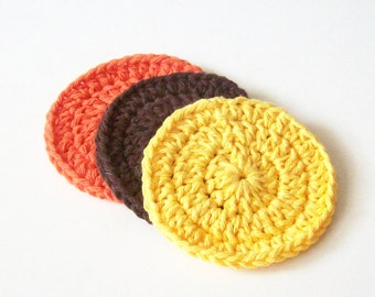 Crochet Face Scrubbies, Cotton Face Scrubbies, Yellow Brown Orange Scrubbies, Make up Remover, Facial Scrubbies, Reusable, Set of 3