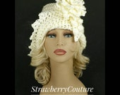 50th Birthday Gift for Women, Crochet Hat, Womens Hat Trendy, Crochet Flower, Off White Hat, African Hat, LAUREN 1920s Cloche Hat