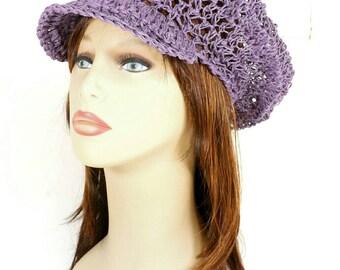 Crochet Sun Hat, Floppy Sun Hat, Floppy Hat, Womens Hat Trendy, Womens Crochet Hat, Crochet Newsboy Hat, Hemp Hat, Light Purple Hat Annie