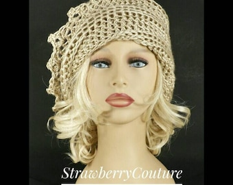 Womens Crochet Hat, Womens Hat Trendy, Crochet Beanie Hat, Bone Beige Hat, Lauren Beanie Hat for Women, Unique Gift