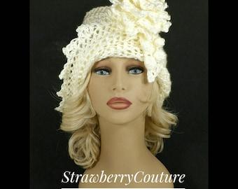 Crochet Hat, 50th Birthday Gift for Women, Womens Hat Trendy, Crochet Flower, Off White Hat, African Hat, Lauren 1920s Cloche Hat