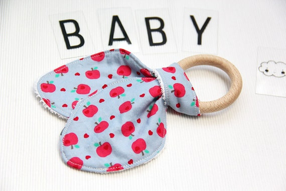 Ear bunny teether ring - apples - pink - red - gray - green - bamboo terry cloth - baby gift - baby shower - birthday - baby boy