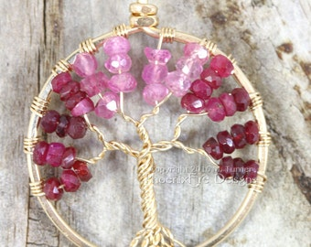 14k gf Shaded Ruby Tree of Life Pendant Gold Wire Wrapped Necklace Red Raspberry Ombre Pink Sapphire Natural Gemstone July Birthstone RTS
