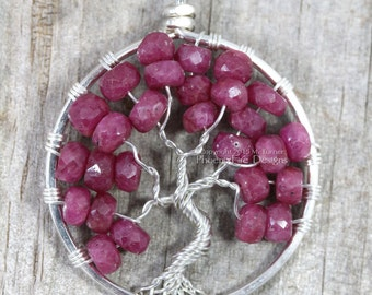 Ruby Red Tree of Life Pendant Silver Wire Wrapped Jewelry Natural Gemstone Necklace July Birthstone Precious Pink Sapphire Gift for Her RTS