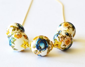 Navy Blue Rose Japanese Tensha Gold Beaded Necklace