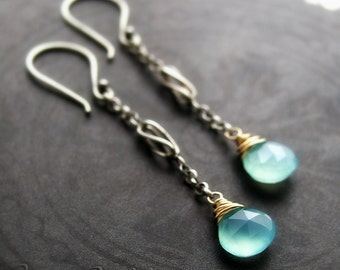 Aqua Chalcedony Mixed Metal Dangle Earrings - Oxidized Sterling Silver and Gold Long Drop Chain Earrings - Mixed Metal Blue Jewelry