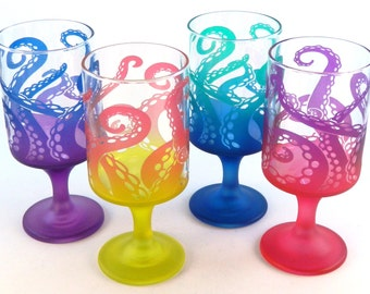 Octopus Tentacles - Modern Style Wine Glasses - Set of 4 - Etched and Painted Glassware - Custom Made to Order