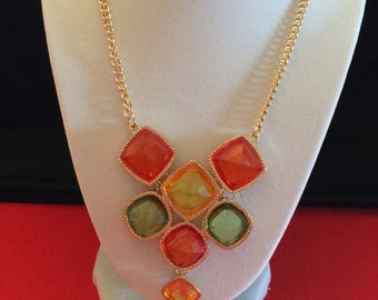 Rainbow  colors, glass, bib-effect necklace