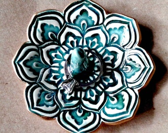 Ceramic Lotus Ring Holder Bowl  gold edged Malachite Green 3 1/4 inches round