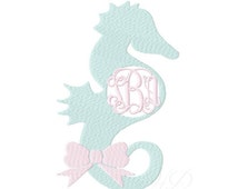 Sea Horse Seahorse Circle Monogram Embroidery Frame Machine Embroidery Design Instant download 4x4 5x7 6x10