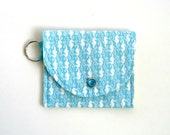 Coin Purse in Tiny Seahorses, Summer Coin Purse, Mini Wallet, Nautical, Preppy, Teal and White