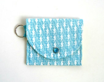 Coin Purse for Summer with tiny Seahorses, Mini Wallet, preppy and nautical, gift for her under 10 dollars, gift for boater