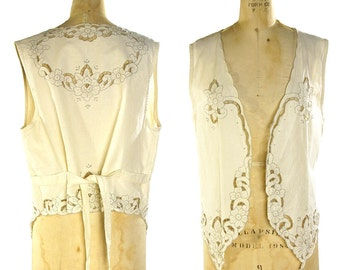 80s Cutwork Embroidery Vest / Vintage 1980s Linen Eyelet Cut Out Top / Off White / Floral Sheer Victorian Inspired Lace Work / One Size