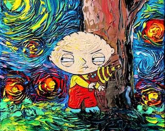 Family Guy Art - Stewie Cartoon Starry Night print van Gogh Never Saw Quahog by Aja 8x8, 10x10, 12x12, 20x20, and 24x24 inches choose size