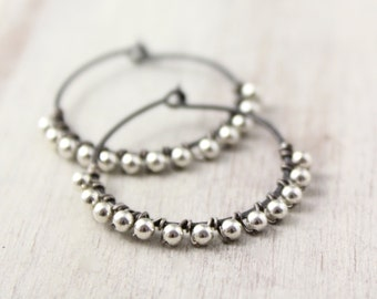 Silver Bead Wrapped Oxidized Silver Hoops