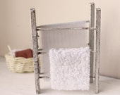 Dolls House Miniature Shabby Drying Rack with Towel and Sheet