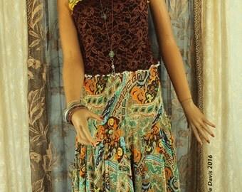 SALE chocolate cami GYSPY dress ensemble - paisley boho hippie style summer sleeveless dress Small-Medium #101D - ***