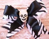 Zebra Print Skull Bow, Rockabilly Pinup Psychobilly