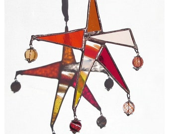 Boho Suncatcher, Stained Glass Star, Abstract Star, Orange and Reds Stained Glass Carnival Star