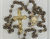 Delicate Gold/Smokey Quartz STONE Rosary