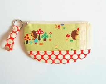 Zipper Pouch with Keyring, Coin Purse, Change Pouch, Makeup Bag, Women and Teens, Gift For Her, Hedgehogs
