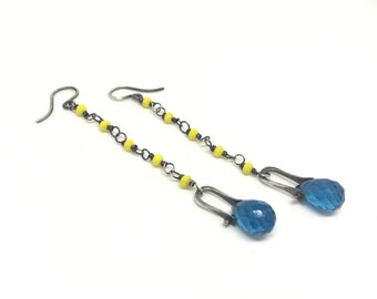 Neon Yellow glass, and quartz earrings dangle earrings drop earrings earrings earrings tv earrings