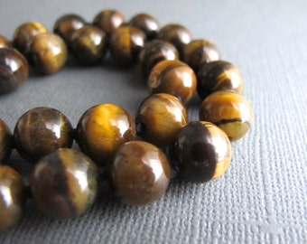 Gaia. Tiger Eye Necklace, Long Boho Necklace, Hand Knotted Natural Gemstone Jewelry
