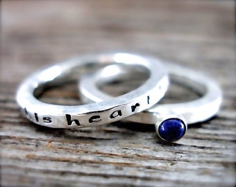 Inspirational Stack Ring Set - This Heart Has Strength