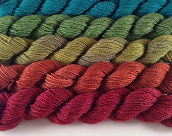 Situationally Sad Rainbow mini set: Hand-dyed 75-25 SW merino/nylon, six minis, 20g/90 yards each