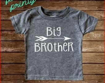 SALE big brother Shirt Boys Shirt Heather Grey with White New Brother arrow shirt