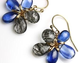 Kyanite and Tourmalinated Quartz Flower Earrings