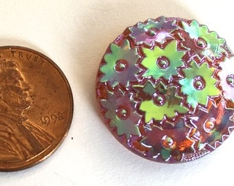 Vintage cabochon (1) large glass cab button  iridescent  gold amber topaz  stars carnival glass detailed raised  round button domed 23mm (1)