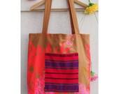 Oversize Large Tote Bag Pink Pocket