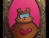 Original Artwork- 5x7 Robot Heart Bear in recycled decorative Silver frame on black velvet padded backing