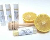 Lemon Drop lip balm, natural lip balm, organic oil, essential oil, no artificial colors, natural flavoring, lip care, tube lip balm