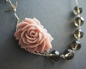 Statement Necklace Flower Necklace Dusty Pink Necklace Grey Necklace Bridesmaid Jewelry Set Bridesmaid Gift Wedding Jewelry Set Gift For Her