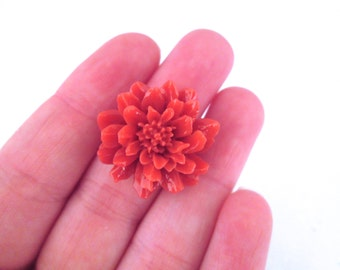 4 orange red 24mm chrysanthemum cabochons, cute flower cabs