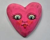 Anthropomorphic Valentine  Heart Wooden Sculpture Folk Art Ornament OOAK