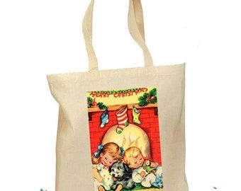 Christmas Tote Bag - Waiting for Santa - Christmas Gift Bag - Children Cotton Bag - Eco Gift Bag - Retro Gift Canvas Fireplace Cozy