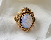 Vintage Faux Opal Size 5 Cocktail Ring 18k Yellow Gold Plated HGE, Iridescent, Moonstone, Blue Pink- Floral Flower Scrolling Detailed