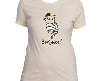 Womens French Kitty Cat T-Shirt Girls Tee Shirt Bonjour Paris Cat Cute Mustache Moustache Tshirt